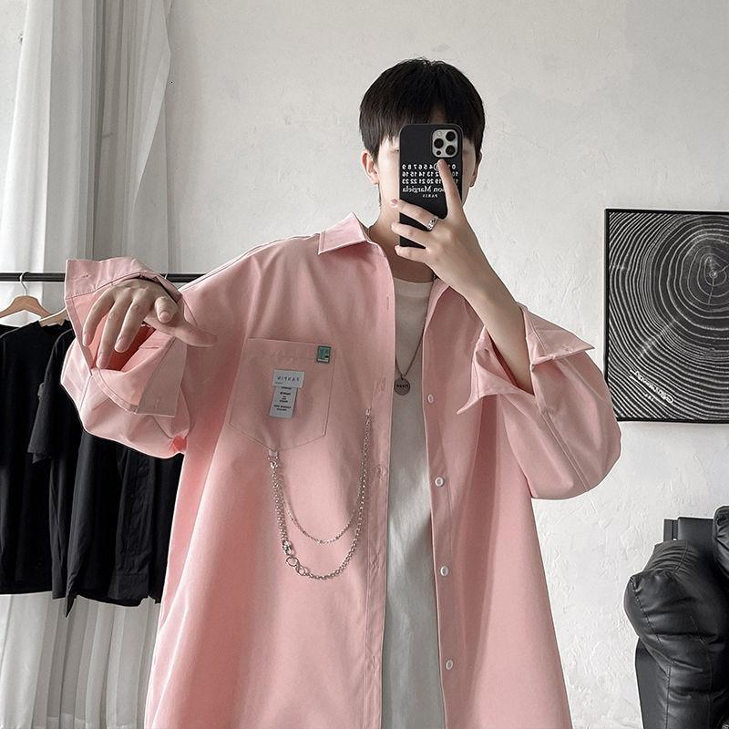 Рубашка мужская оверсайз с длинным рукавом, модная уличная одежда с цепочкой в стиле Харадзюку, брендовая одежда в Корейском стиле