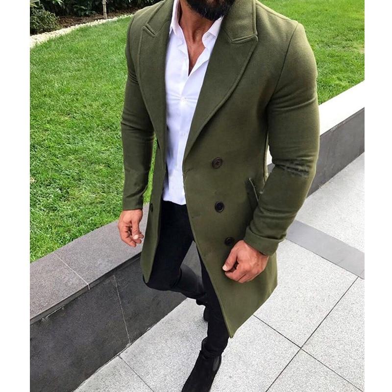 Newest Men's Trench Coat Social Male Long Winter Warm Korean Style Gentleman Double-breasted Woolen Slim Fit Streetwear Clothing