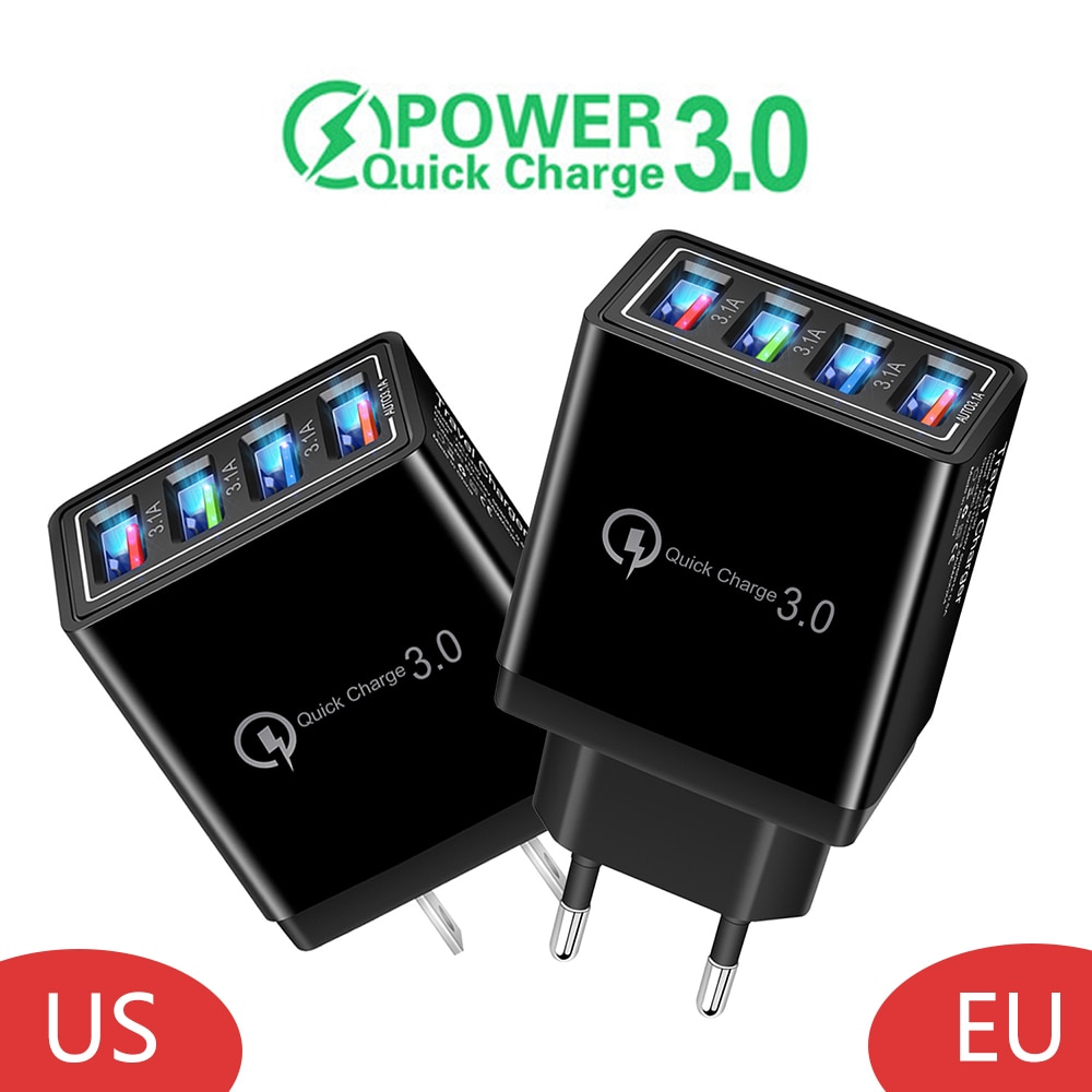 EU/US Plug multipuerto teléfono cargador USB QC3.0 rápido de carga para iPhone 11 Pro 7 XR Samsung LG Tablet portátil pared adaptador