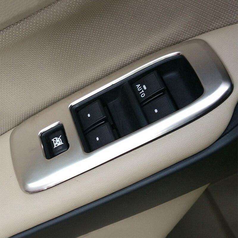 Puerta Interior de acero inoxidable reposabrazos ventana para cubierta de botones interruptores adornos para Ford Everest Endeavour 4Dr SUV 2015 2016 2017 2018