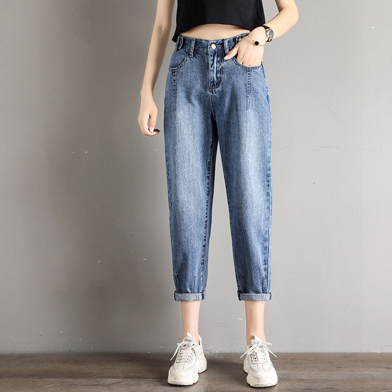 New  High Waist Women Jeans Ankle-Length Pants Ripped for Button Fly Bleached Pleated Lady