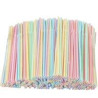 100pcs plastic drinking straws 205mm multi colored stripe rainbow disposable straws for party wedding bar kitchen home supplies
