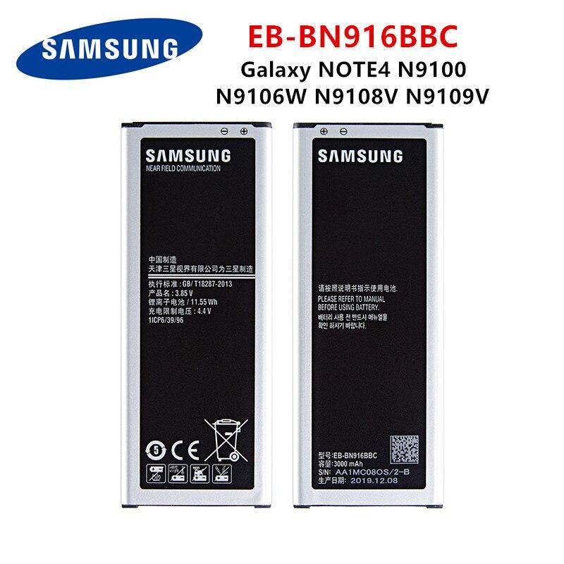 Samsung original EB-BN916BBC 3000 mah bateria para samsung galaxy note4 n9100 n9106w n9108v n9109v nota 4 baterias + wo