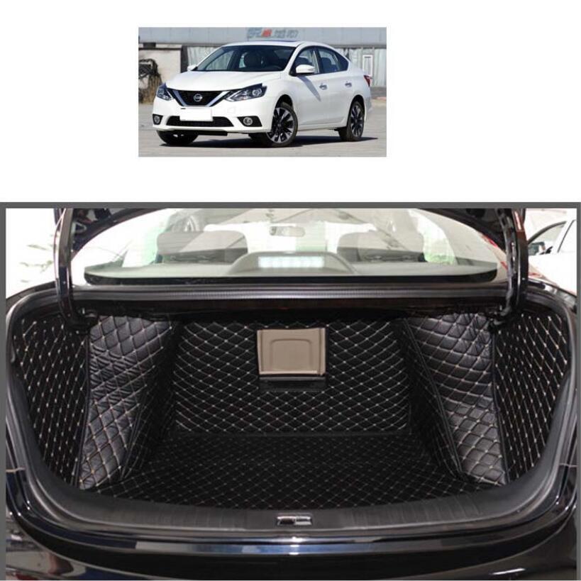 Alfombrilla de cuero para maletero de coche, forro de carga para Nissan Sylphy 2012 2013 2014 2015 2016 2017 2018, accesorios Pulsar Sentra