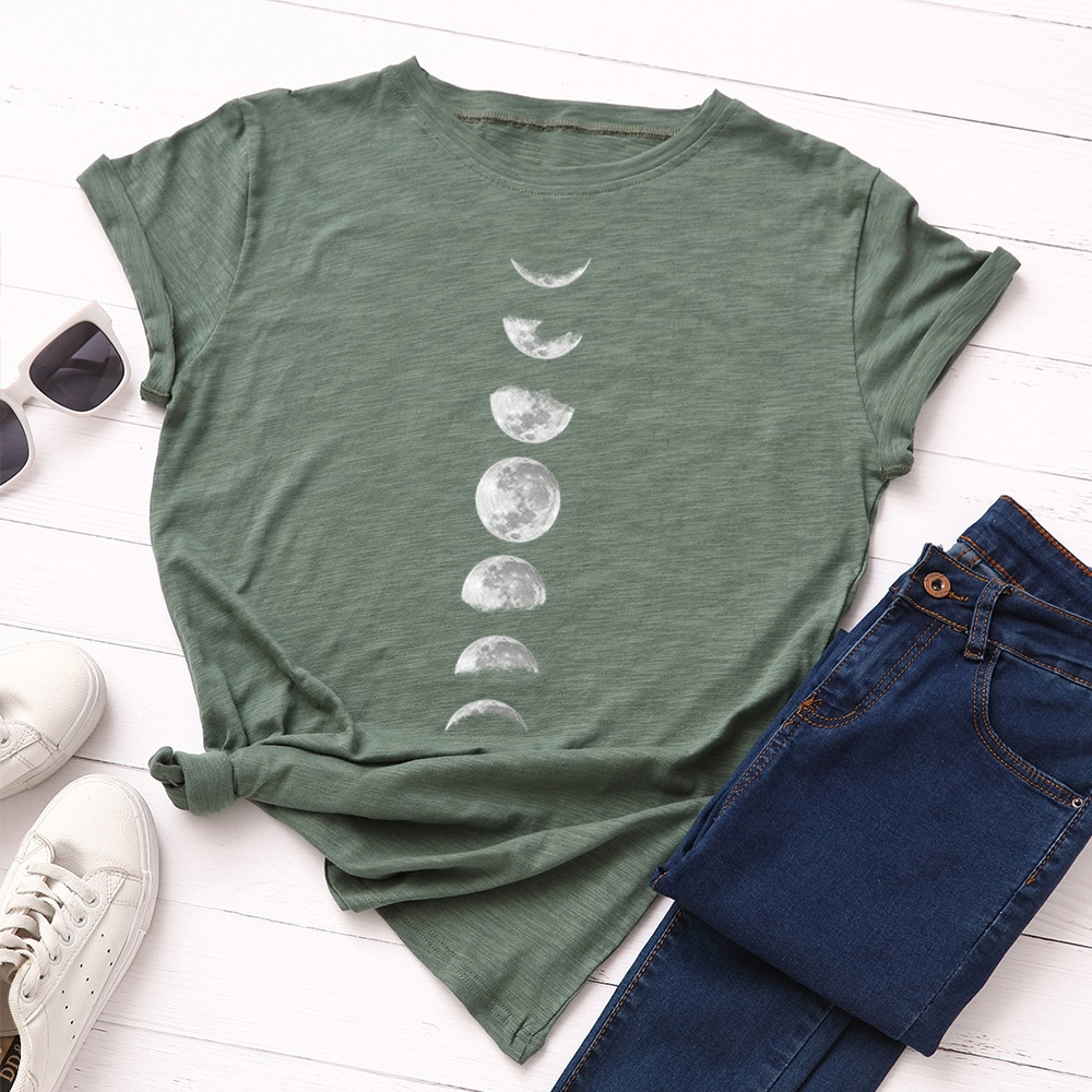 Plus Size S-5XL Fashion 100% Cotton Women T-Shirt Casual Loose O-Neck Short Sleeve Summer Female Tees Tops W710