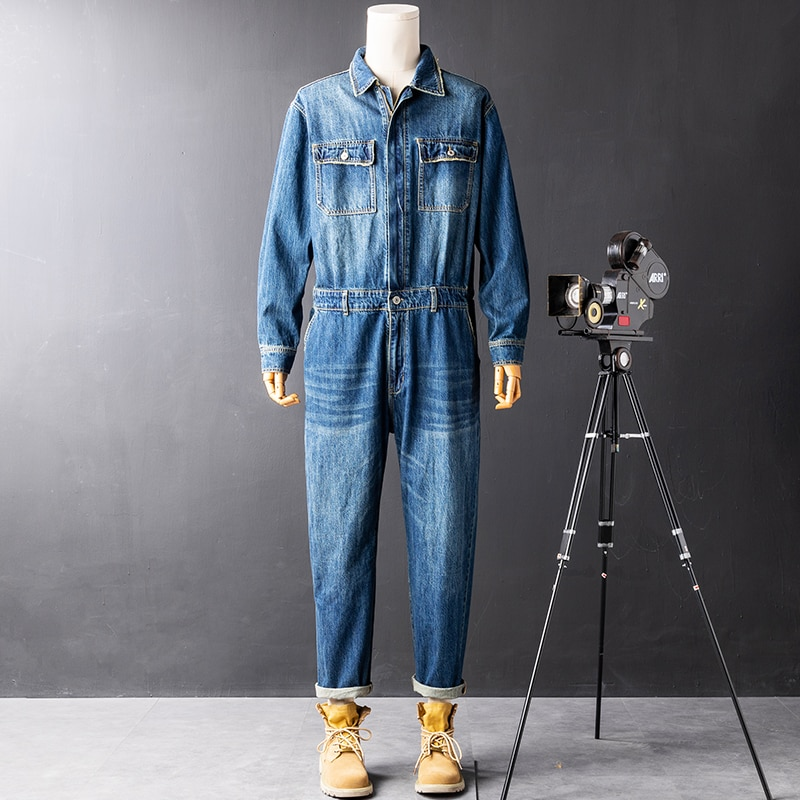2021 new street fashion denim jumpsuits men's trendy brand straight loose overalls for men trousers