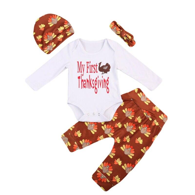Dropshipping 4 pçs bebê menino menina ação de graças roupa macacão calças bandana benie hat