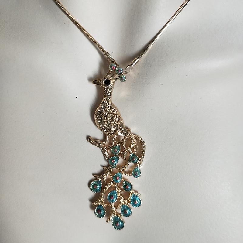 2019 Gold green peacock New for Women Pendant Rhinestone Necklace Gift Ethnic Bohemian Choker Long Necklace Drop Shipping