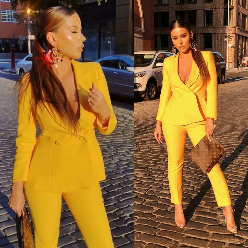 الأصفر النساء السيدات الخامس الرقبة 2 قطعة الأعمال السراويل الدعاوى مخصص فستان الأم فستان سهرة رسمي البدلات الرسمية (سترة + السراويل)
