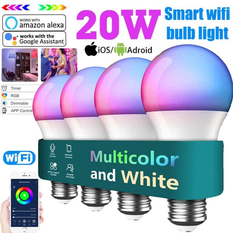 AliExpress - Smart LED Lamp Light Bulb RGB 20W E27 B22 Wireless Bluetooth WIFI APP/IR Remote Control Work with Alexa Google Home Assistant
