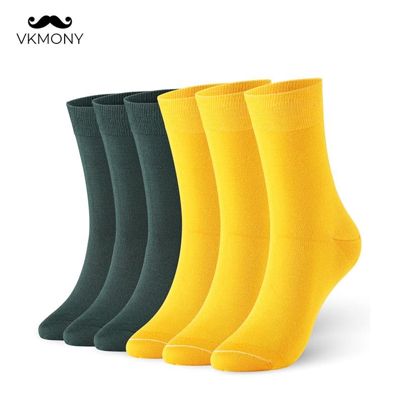 Носки мужские из бамбукового волокна, тонкие блестящие одноцветные носки, 6 пар/лот, британские Размеры 7-11, европейские размеры 40-46 1009, VKMONY, в...