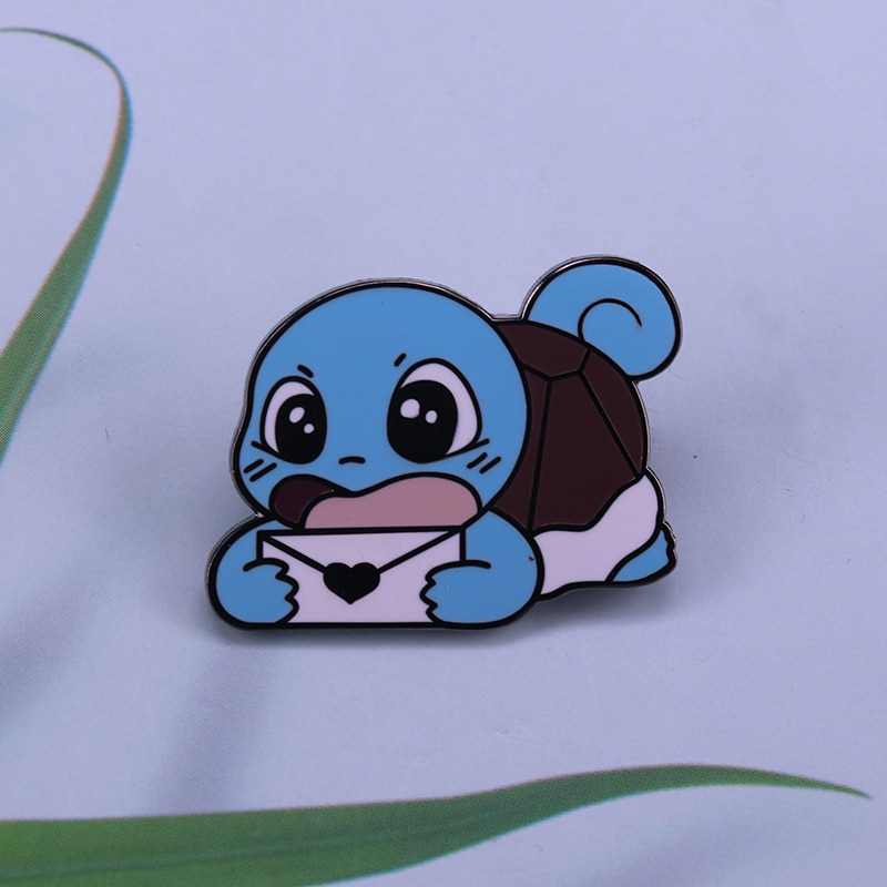 Baby Squirtle letter pin mail delivery turtle seems to be carrying something sealed with love