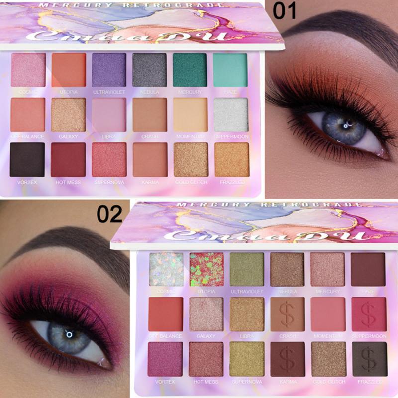 Paleta de sombras de ojos pigmentada brillo, 18 colores, verde, rosa, morado, rojo, polvo de sombra de ojos, maquillaje duradero, cosmético TSLM2