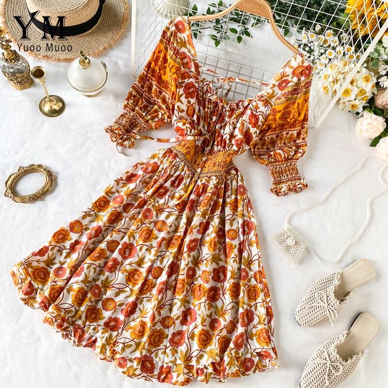 YuooMuoo, vestido Vintage corto con estampado de flores para vacaciones para mujer, Vestido de playa entallado sin espalda para verano 2020, Vestido corto bohemio a la moda Ins