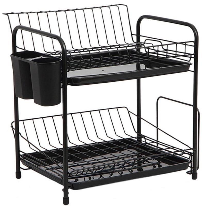 AFBC طبق رف مجموعة 2-الطبقة المطبخ المنظم أدوات لوحة ملعقة تخزين إطار للصدأ استنزاف عاء رف المطبخ طبق الرف
