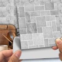 Papier peint autocollant motif mosaique gris  vue 3D  impermeable  decoration murale pour salle de bain  renovation  cuisine  autocollants  25 pieces ensemble