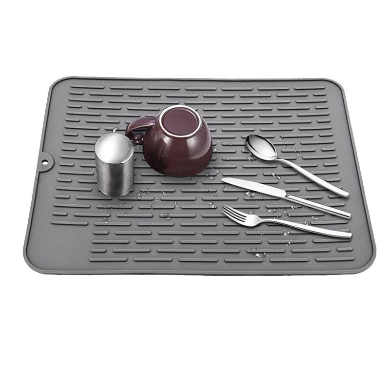 Rectangle Silicone Drying Mat,Drain Mat Insulation Mat,Kitchen Sink Mat,Waterproof Countertop Pad,1Pcs,Grey