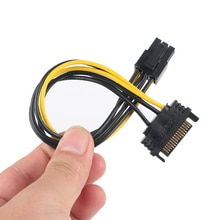 1PCS New 15pin SATA Male To 8pin(6+2) PCI-E Power Supply Cable 15cm SATA Cable 15-pin To 6 Pin Cable