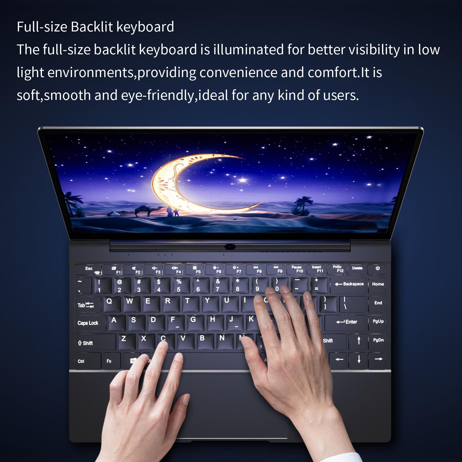 N5095 2021 New CPU 14 Inch Laptop 12G RAM Windows 10 Pro Quad Core Netbook Backlit Keyboard Mini PC 1920*1080 IPS Mini Notebook