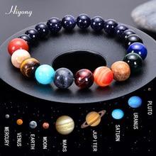 HIYONG Acht Planeten Perle Armband für Männer Frauen Natürliche Stein Perlen Armband Universum Galaxy Solar System Planeten Armbänder