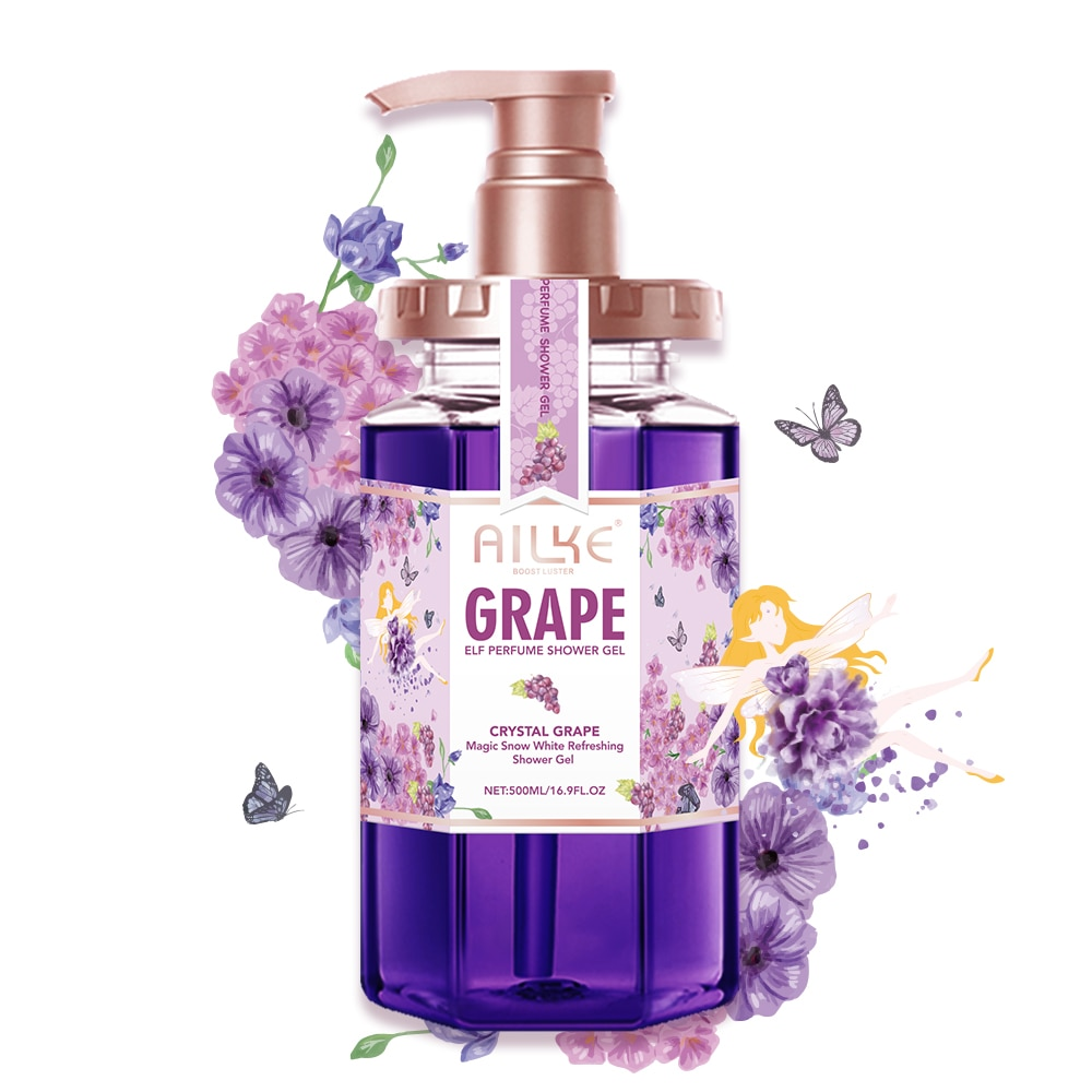 AILKE gommage gel douche Shower gel women Whitening  Moisturizing brightening  Exfoliat body wash care Organic Grape bath foam