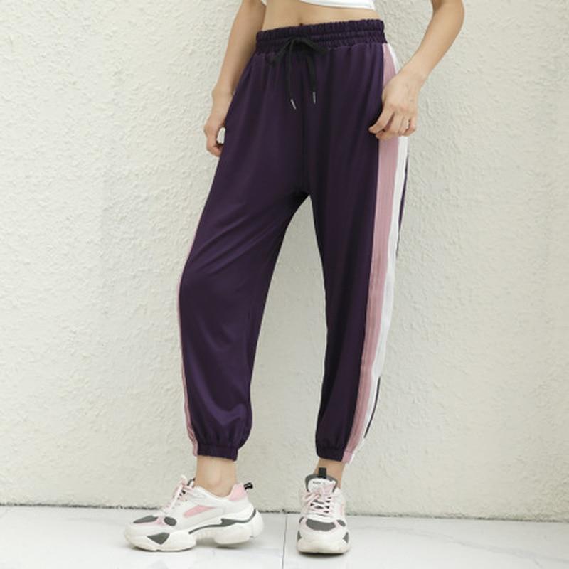 Pantalones deportivos holgados de secado rápido, pantalones de fitness informales para exterior para mujer, pantalones de Yoga con corset fino y cordón ajustable para correr