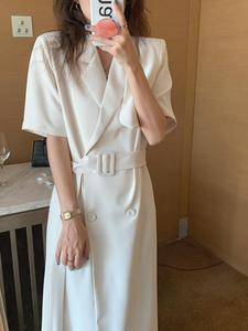 Office Women Elegant Suit Collar Dress Solid Short Sleeve Double Breasted Loose Midi Dress With Belt Summer Vestidos Female Robe
