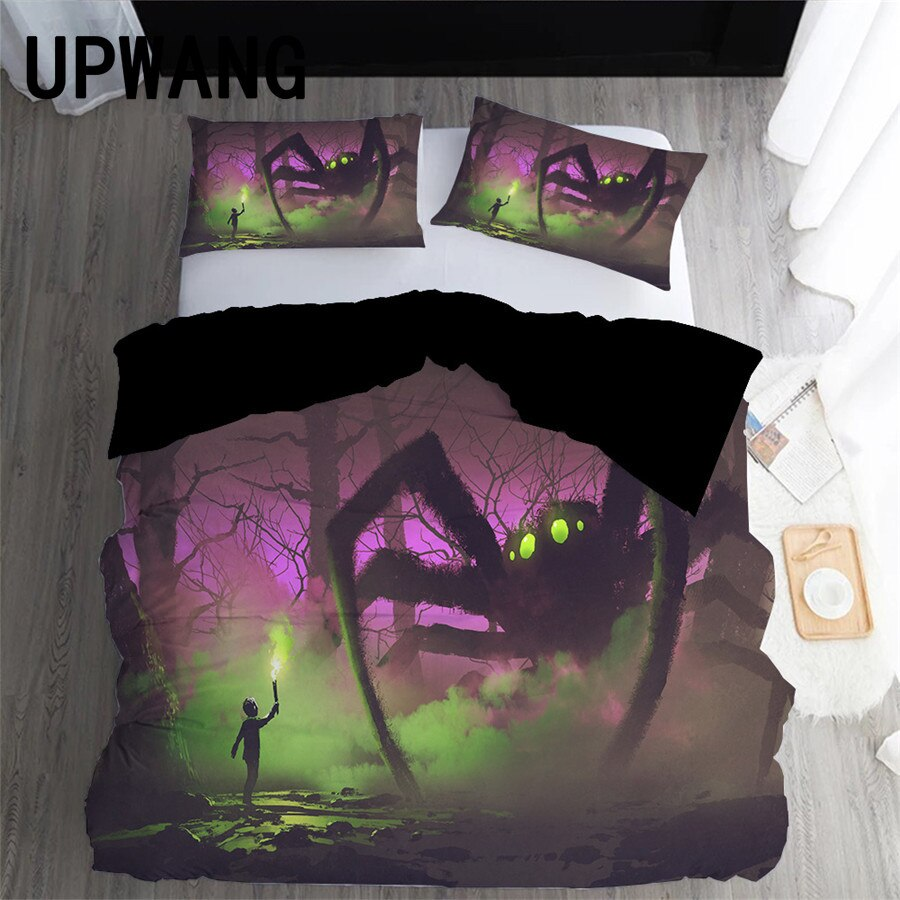 UPWANG 3D Bedding Set Spider Cobweb Printed Duvet/Quilt Cover Set Bedcloth with Pillowcase Bed Set Home Textiles