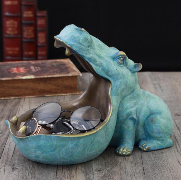 Caixa de Jóias de Escultura Decoração da Casa Sala de Estar Acessórios de Decoração Hipopótamo Estátua Decoração Artware Resina Cinzeiro