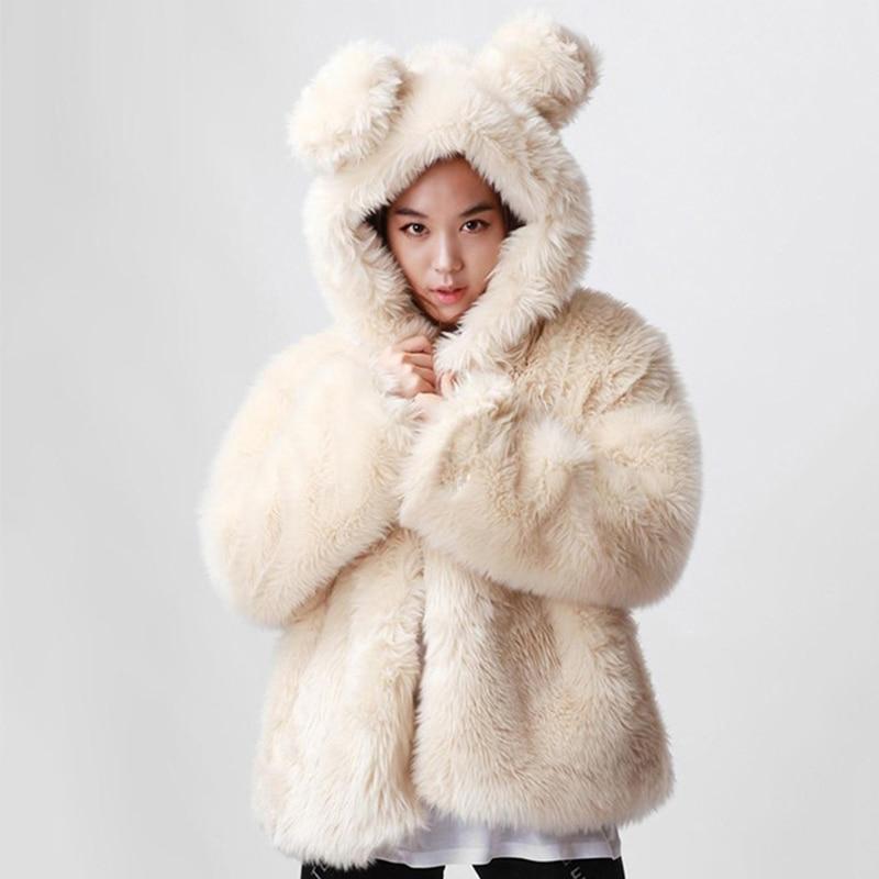 Женская Шуба с капюшоном и кроличьими ушами, теплая зимняя куртка в Корейском стиле, PC203