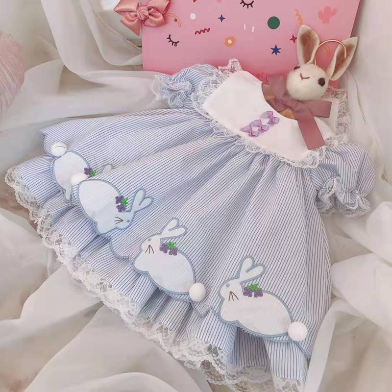 Летнее испанское вечернее платье Лолита для маленьких девочек, бальное платье с короткими рукавами-пузырьками, От 0 до 6 лет милое платье принцессы с кроликом