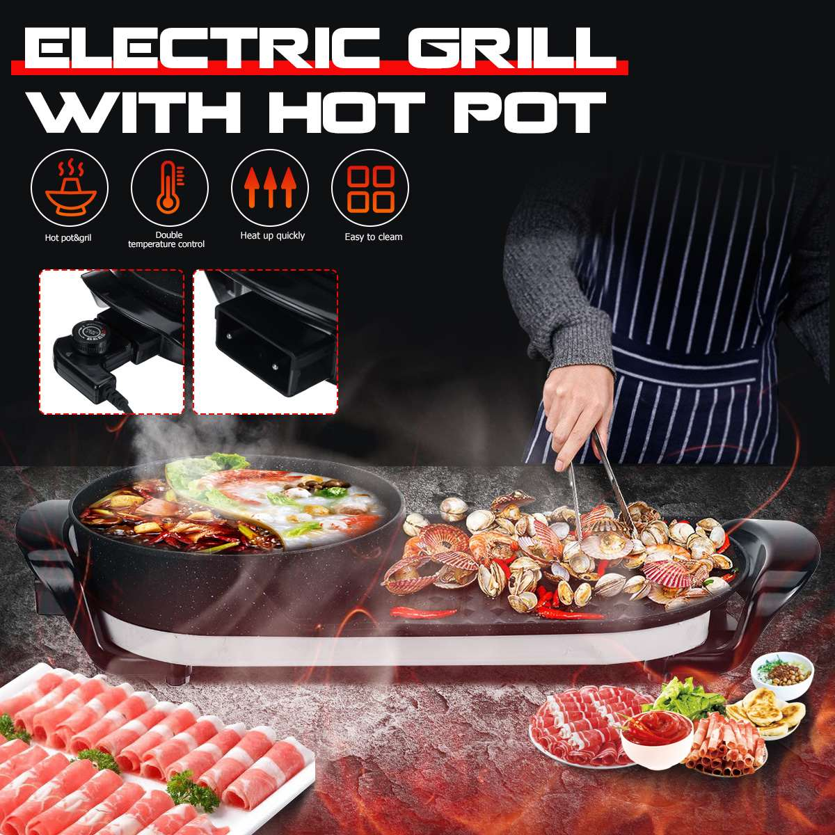 1600w electric shabu roasted pot multifunctional electric pan grill bbq grill raclette grill electric hotpot with grill pan 2 In 1 Barbecue Hot Pot Electric bbq Grill And Hot Pot Smokeless Indoor Barbecue Grill 220v Multifunctional Home Party Non Stick