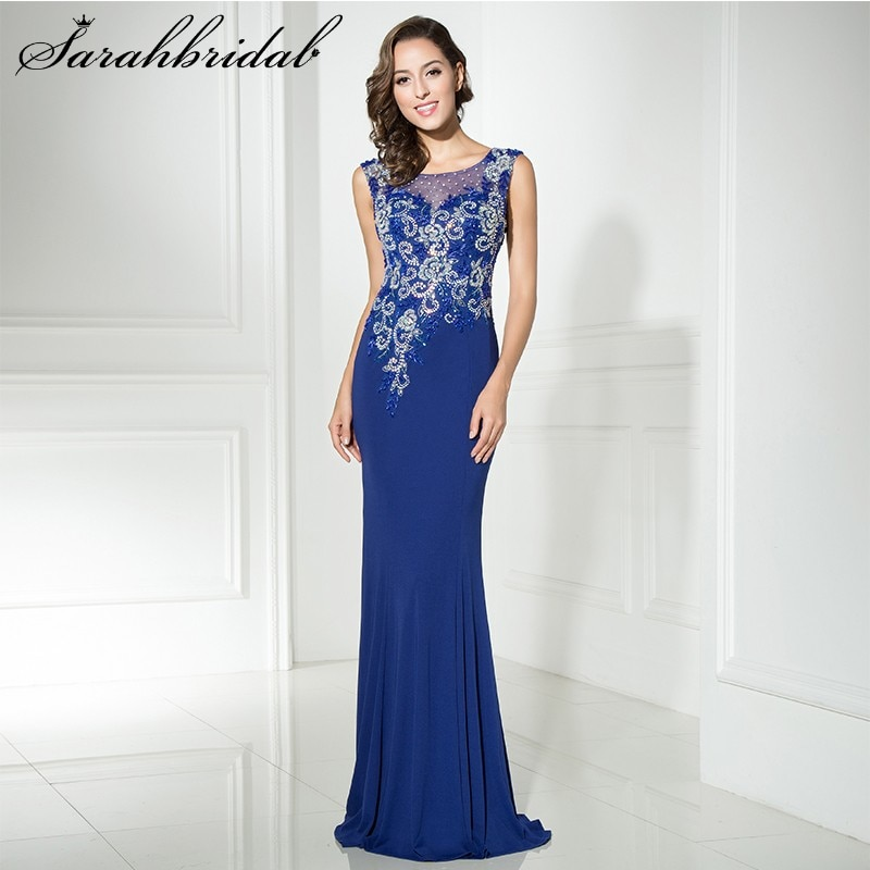 Sexy Evening Gown O Neck Illusion Sleeveless Party Dresses Beaded Sequins Crystal Floor Length Trumpet Robe De Soiree LX330