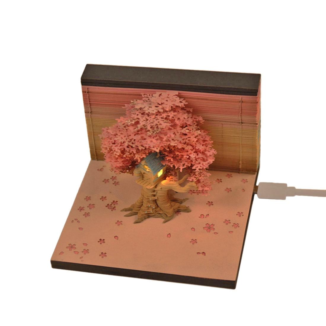 Bloco de Construção de Arte de Papel Notas de Memorando Modelo de Casa de Árvore com Decorações de Luz para Casa-azul Nota Pegajosas Cor Rosa Diy 3d –