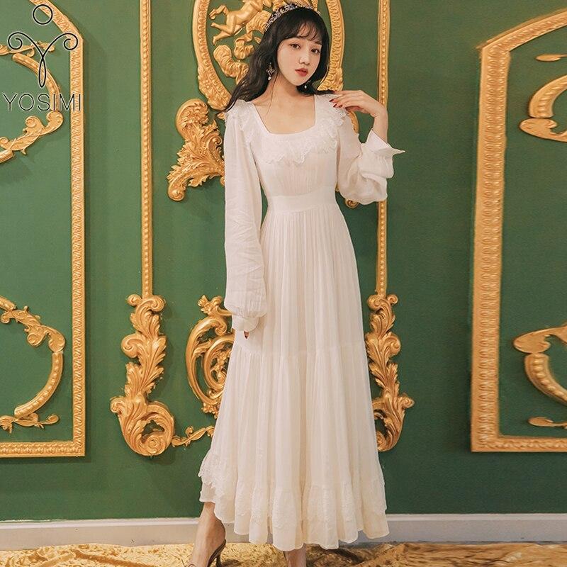 فستان ماكسي نسائي YOSIMI من الشيفون الأبيض, فستان حفلات بياقة مربعة وأكمام طويلة بتصميم عتيق مستوحى من الدانتيل موديل 2020 ، مناسب للحفلات