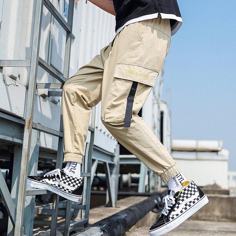 Летние мужские штаны ANSZKTN, шаровары в стиле хип-хоп, штаны для бега, новинка 2020, мужские брюки, мужские штаны для бега, однотонные штаны с неск...