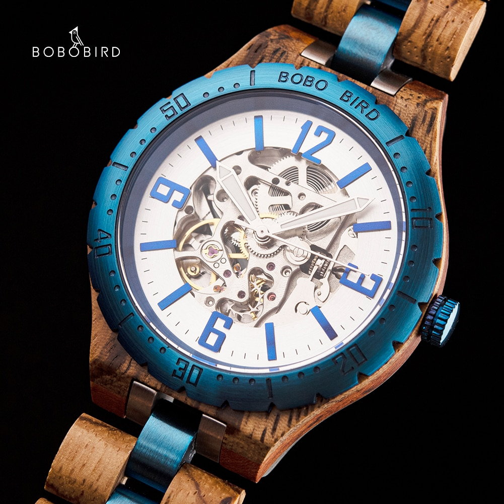 BOBO BIRD Wooden Automatic Mechanical Watches Men Luxury Watch orologi uomo automatico Valentine's Day Gifts for Man in Wood Box