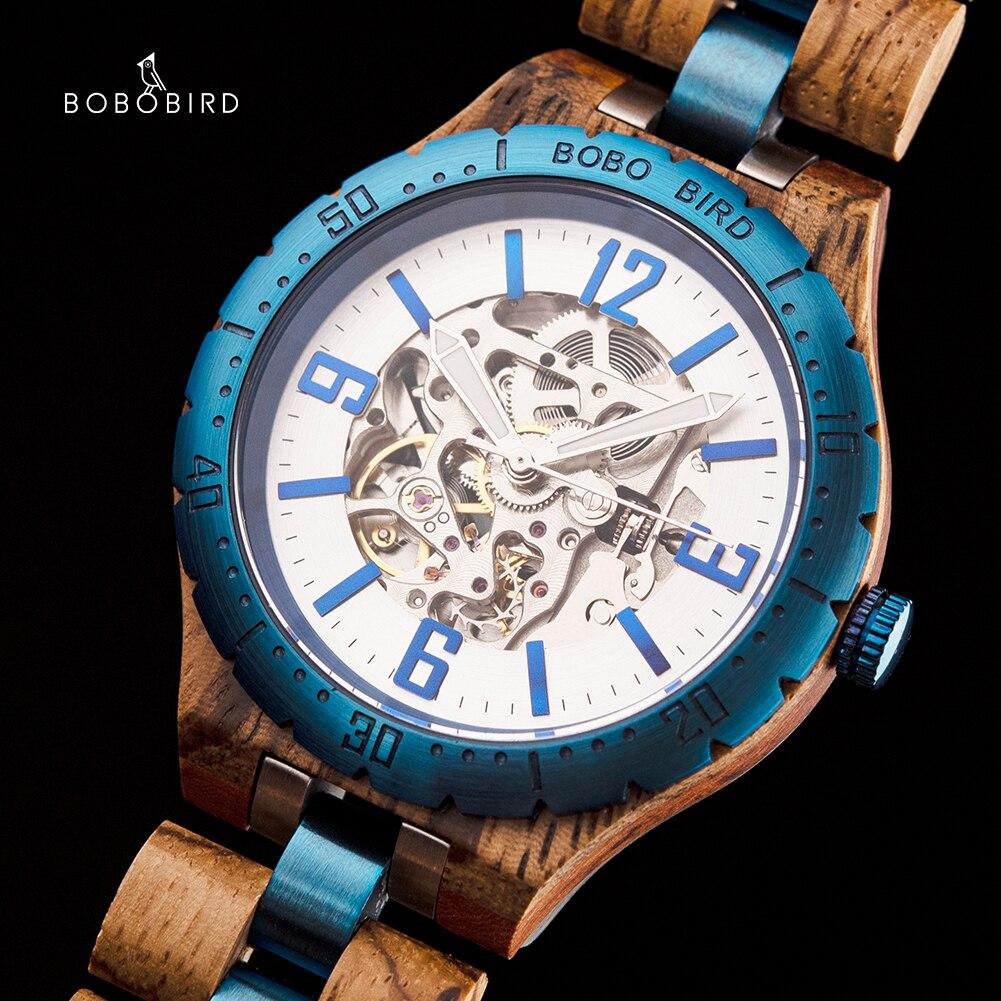 Pássaro de Madeira Relógio de Luxo Presentes do Dia dos Namorados para o Homem na Caixa de Madeira Bobo Relógios Mecânicos Automáticos Masculino Orologi Uomo Automatico