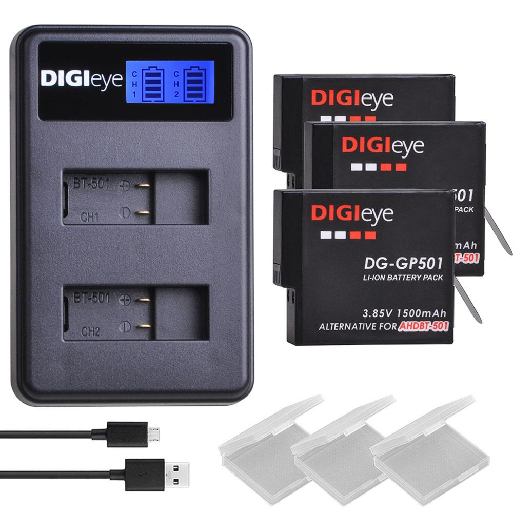 3Pcs 1500mAh  Battery for Gopro Hero 5/6/7+ LCD Dual USB Charger 5, 6, 7 Black, 2018, AHDBT-501