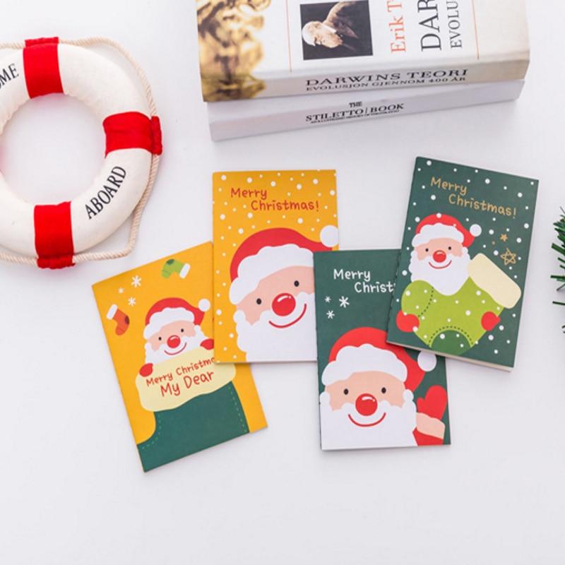 1pcs/lot Kawai Cartoon Christmas Day Santa Claus Pocket Notepad Cute Book Gift Happy Christmas Notebook Stationery
