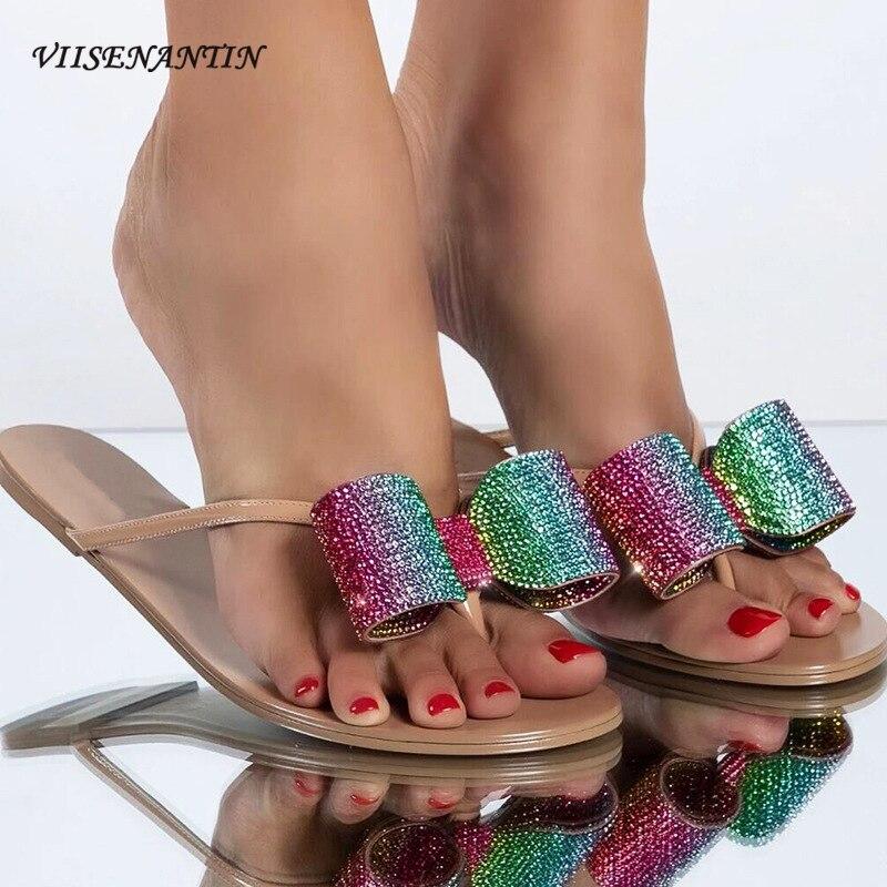 Strass Bowtie Feminino Chinelo Sapato 2021 Verão Praia Slides Estilo Simples Cristal Flip Flops Plana Casual Confortável Preguiçoso