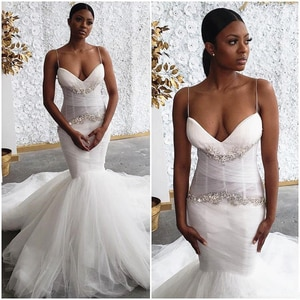 Mermaid Wedding Dresses 2021 Modern Sexy Spaghetti Straps Sparkly Crystals Beading African Bridal Gowns vestido de noiva