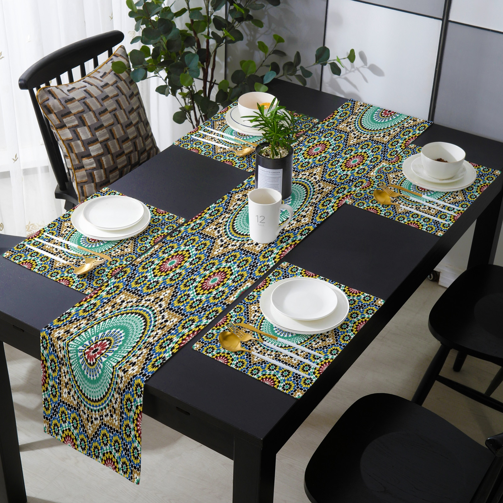 المغرب الزهور الملونة الأرابيسك الجدول عداء و المفارش مجموعة الزفاف الجدول الديكور الجدول عداء للمطبخ الطعام