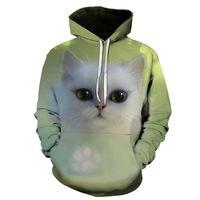 Новинка Осень 2020 толстовки для мужчин и женщин с длинным рукавом 3d принт милый кот Свитшот пуловер Модные топы для мужчин и женщин