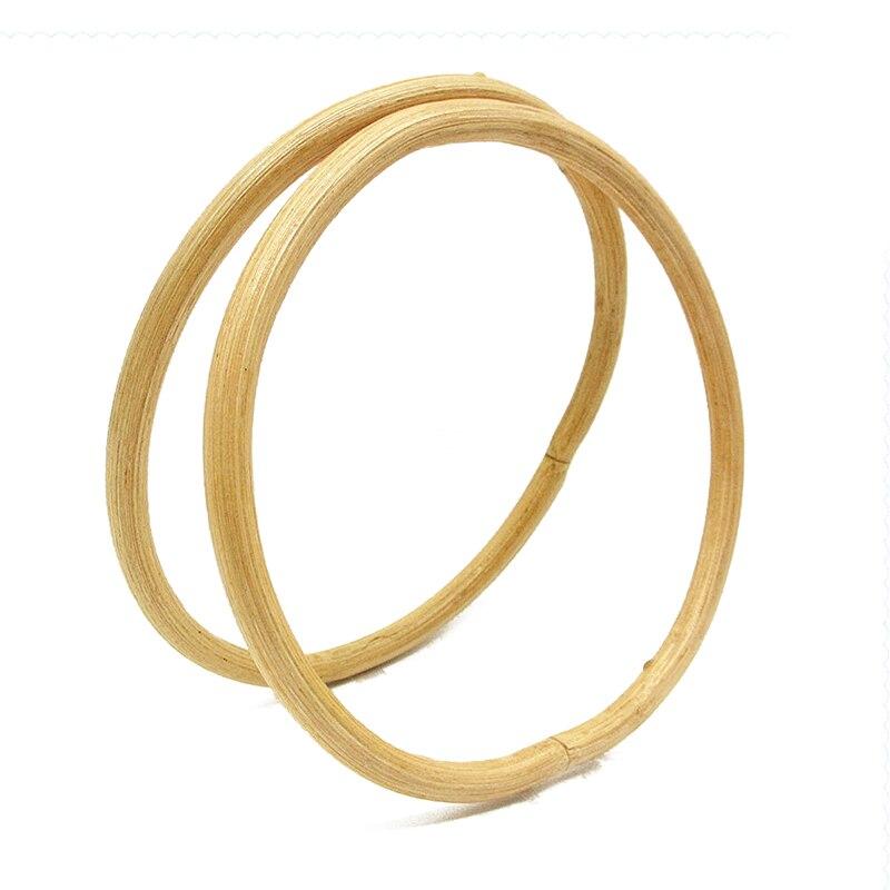 13cm/15cm D Round Shape Bamboo Handle DIY Handmade Rattan Wooden Bag Accessories Replacement Women Handbag Tote Purse Handles