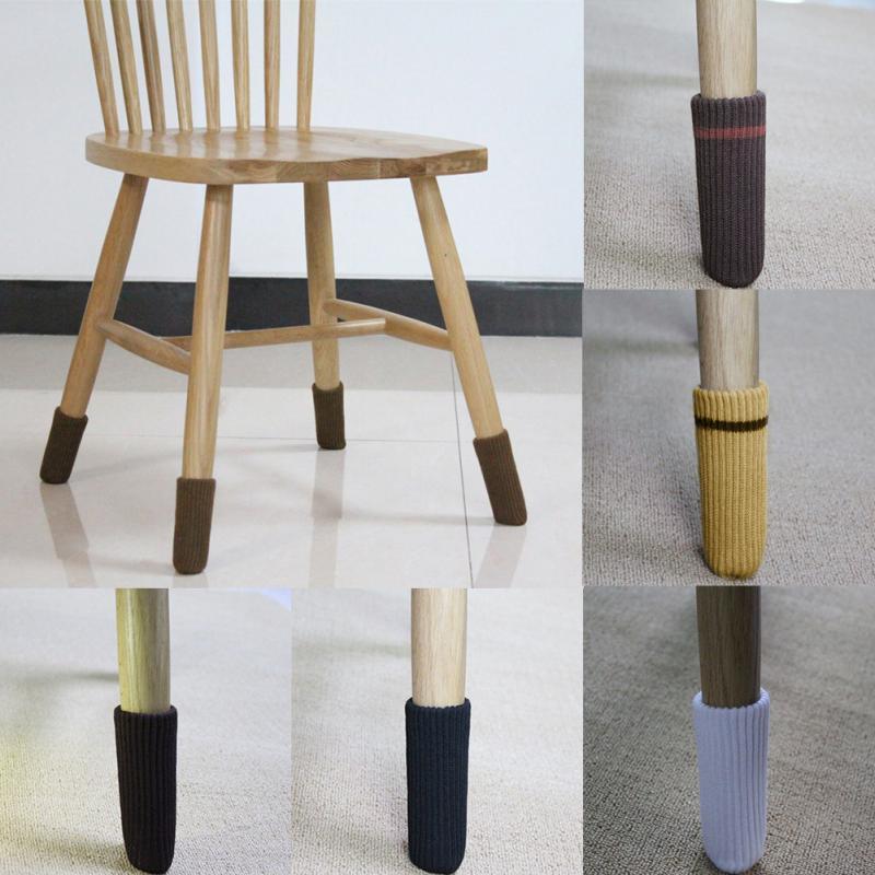 4 шт., носки для ног на стуле, противоскользящие вязаные шерстяные носки с рукавом для ног, защита для пола, уплотненный чехол для стола