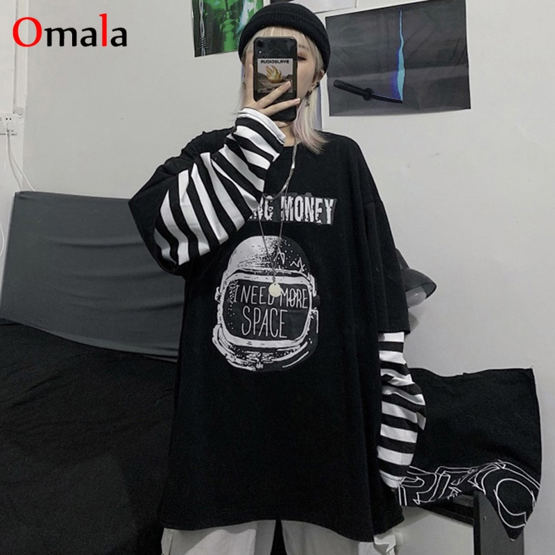 Autumn tshirt Casual Letter Print O-Neck stripe Tees Creativity Loose T-Shirts Women Long Sleeve Oversize top Hip Hop Streetwear
