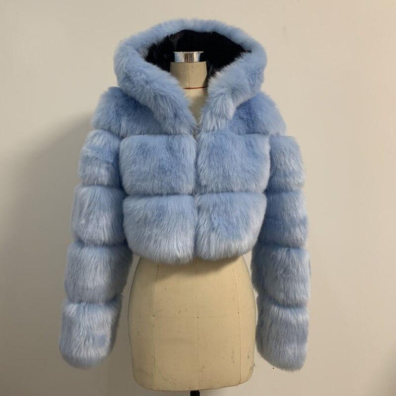 Зимняя теплая плотная верхняя одежда, женские пальто, куртки, женское короткое пальто из искусственного лисьего меха с шляпами, лидер прода...