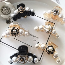 Hair Claw Clip Clamp For Women Girl Camellia Flower Floral Banana Pearl Korean Handmade Fashion Head Accessories Mujer Wholesale