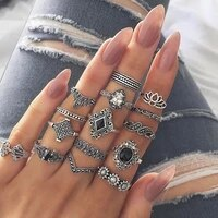 15pcsset bohemia flowers crystal crown finger ring set 925 sterling silver joint knuckle rings women jewelry accessories gifts